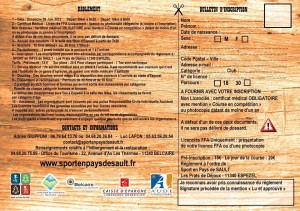 Bulletin d'inscription du Trail du Pays de Sault édition 2013