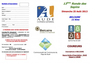 Bulletin d'inscription 13° Ronde coureurs