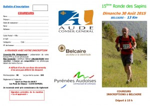 Bulletin d'inscription 15° Ronde coureurs