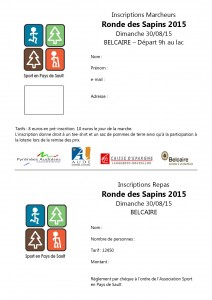 Inscriptions marcheurs 15° Ronde